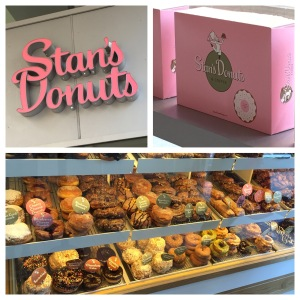 We'd been eying Stan's Donuts for days. It is on a route that we walk quite a bit, and well…we are donut people. So yesterday morning, we walked through the revolving door that had been beckoning us. And we definitely don't regret it.