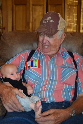 My Papa meeting Lexi for the first time! It was our first trip to Kansas after the girls were born. She was 3-months old.