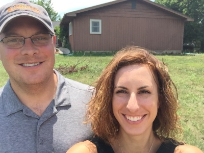 Our first photo as the owners of my Papa's farmstead!!