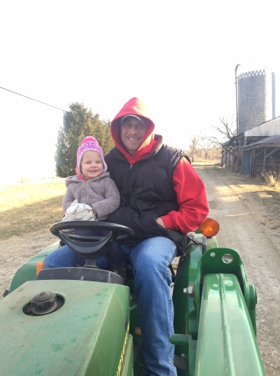 Tractor ride with daddy.